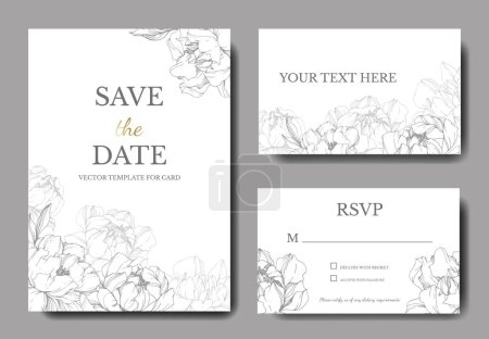 Illustration for Vector wedding elegant invitation cards with silver peonies illustration on white background. - Royalty Free Image