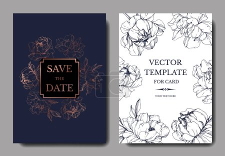 Illustration for Vector wedding elegant dark blue and white invitation cards with peonies illustration. - Royalty Free Image