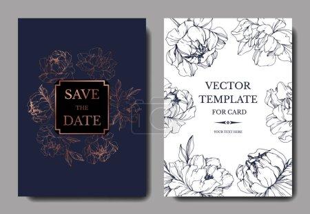 Ilustración de Vector de la boda elegante oscuro azul y blanco invitaciones con ilustración de peonías. - Imagen libre de derechos
