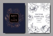 Vector wedding elegant dark blue and white invitation cards with peonies illustration
