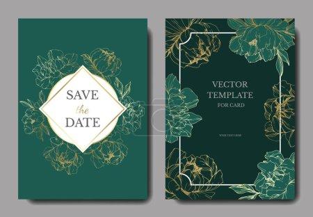 Ilustración de Vector boda elegante verde invitaciones con ilustración de peonías doradas. - Imagen libre de derechos