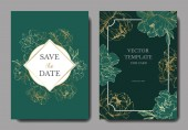 Vector wedding elegant green invitation cards with golden peonies illustration