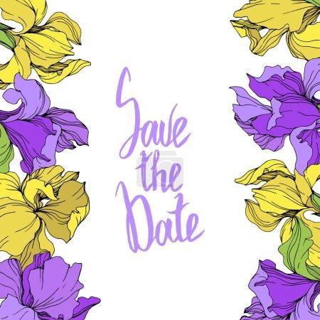 Ilustración de Vector ilustración de iris aislado amarillo y púrpura. Ornamento de la frontera del marco con excepto la inscripción de la fecha. - Imagen libre de derechos