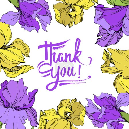 Illustration for Vector yellow and purple isolated irises illustration. Frame border ornament with thank you lettering. - Royalty Free Image