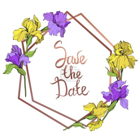 Illustration for Vector yellow and purple isolated irises illustration. Frame border ornament with save the date lettering. - Royalty Free Image
