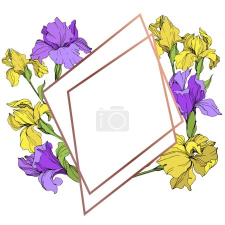 Illustration for Vector yellow and purple isolated irises illustration. Frame border ornament with copy space. - Royalty Free Image