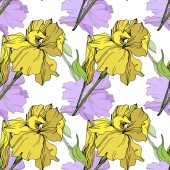 Vector isolated purple and yellow irises Seamless background pattern Fabric wallpaper print texture