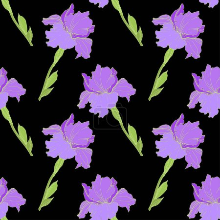 Illustration for Vector isolated purple irises. Seamless background pattern. Fabric wallpaper print texture. - Royalty Free Image