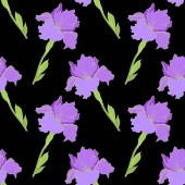 Vector isolated purple irises Seamless background pattern Fabric wallpaper print texture