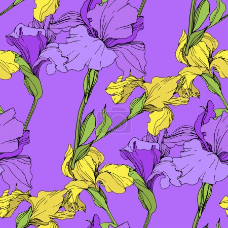 Illustration for Vector isolated purple and yellow irises. Seamless background pattern. Fabric wallpaper print texture. - Royalty Free Image