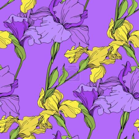 Illustration pour Vecteur isolé iris violet et jaune. Modèle de fond sans couture. Texture d'impression papier peint tissu . - image libre de droit