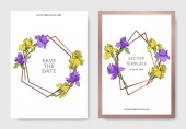 Vector elegant wedding invitation cards with yellow and purple irises