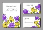 Vector elegant wedding invitation cards with yellow and purple irises