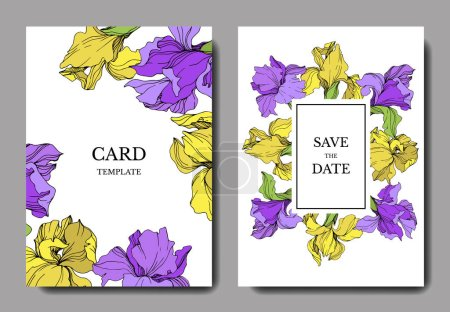 Illustration for Vector elegant wedding invitation cards with yellow and purple irises. - Royalty Free Image