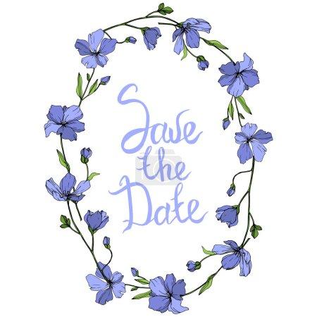 Illustration for Vector Blue Flax floral botanical flower. Wild spring leaf wildflower isolated. Engraved ink art. Frame border ornament square. - Royalty Free Image