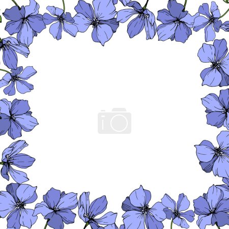 Illustration for Vector Blue Flax floral botanical flower. Wild spring leaf wildflower isolated. Engraved ink art. Frame border ornament square. - Royalty Free Image