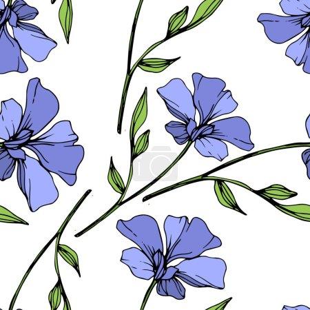 Ilustración de Flor botánica floral lino azul vector. Wildflower de hoja de primavera salvaje aislado. Tinta grabado arte. Patrón de fondo transparente. Textura impresión de papel pintado de tela. - Imagen libre de derechos