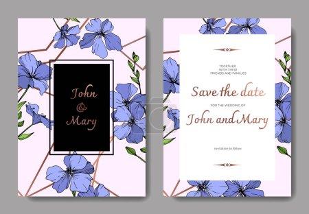 Illustration for Vector Blue Flax floral botanical flower. Wild spring leaf wildflower isolated. Engraved ink art. Wedding background card floral decorative border. Elegant card illustration graphic set banner. - Royalty Free Image
