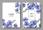 Vector Blue Flax floral botanical flower Wild spring leaf wildflower isolated Engraved ink art Wedding background card floral decorative border Elegant card illustration graphic set banner