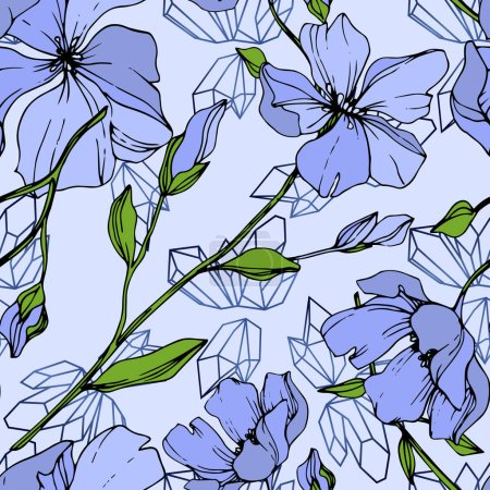 Illustration for Vector Blue Flax floral botanical flower. Wild spring leaf wildflower isolated. Engraved ink art. Seamless background pattern. Fabric wallpaper print texture. - Royalty Free Image
