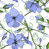 Vector Blue Flax floral botanical flower Wild spring leaf wildflower isolated Engraved ink art Seamless background pattern Fabric wallpaper print texture