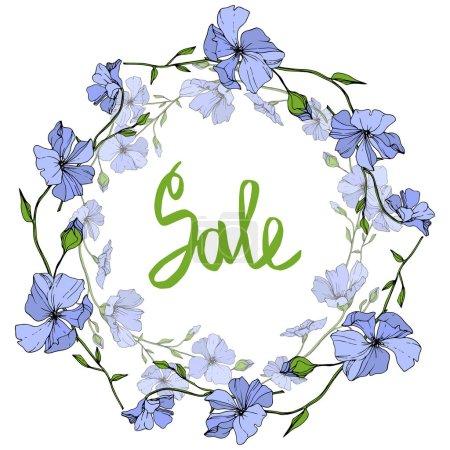 Illustration pour Vector lin bleu botanique fleur floral sur fond blanc. Wildflower de feuille de printemps sauvage isolé. Art d'encre gravé. Place de cadre bordure ornement. - image libre de droit