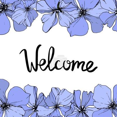 Ilustración de Vector azul lino flores botánica flor fondo blanco. Wildflower de hoja de primavera salvaje aislado. Tinta grabado arte. Plaza de ornamento de frontera marco. - Imagen libre de derechos