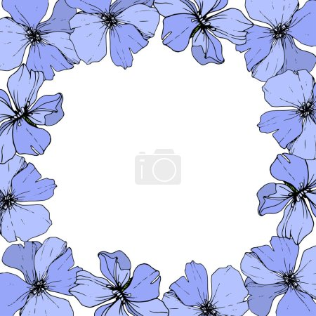 Illustration for Vector Blue Flax floral botanical flower on white background. Wild spring leaf wildflower isolated. Engraved ink art. Frame border ornament square. - Royalty Free Image