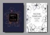 Vector Blue Flax floral botanical flower Engraved ink art Wedding background card floral decorative border Thank you rsvp invitation elegant card illustration graphic set banner