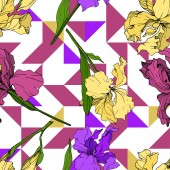 Vector Yellow purple and maroon Iris floral botanical flower Wild spring leaf wildflower isolated Engraved ink art Seamless background pattern Fabric wallpaper print texture