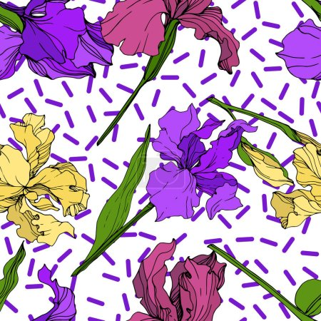 Illustration for Vector Yellow, purple and maroon Iris floral botanical flower. Wild spring leaf wildflower isolated. Engraved ink art. Seamless background pattern. Fabric wallpaper print texture. - Royalty Free Image