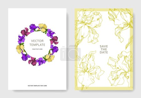 Illustration for Vector Iris floral botanical flower. Wild spring leaf wildflower isolated. Engraved ink art. Wedding background card floral decorative border. Elegant card illustration graphic set banner. - Royalty Free Image