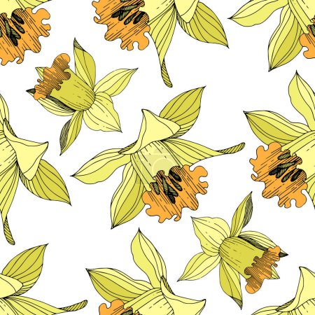 Illustration for Vector Yellow Narcissus floral botanical flower. Wild spring leaf wildflower isolated. Engraved ink art. Seamless background pattern. Fabric wallpaper print texture. - Royalty Free Image