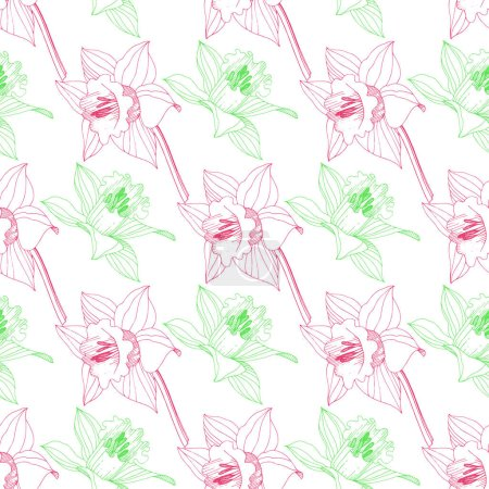 Illustration for Vector Narcissus floral botanical flower. Wild spring leaf wildflower isolated. Pink and green engraved ink art. Seamless background pattern. Fabric wallpaper print texture. - Royalty Free Image