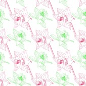 Vector Narcissus floral botanical flower Wild spring leaf wildflower isolated Pink and green engraved ink art Seamless background pattern Fabric wallpaper print texture