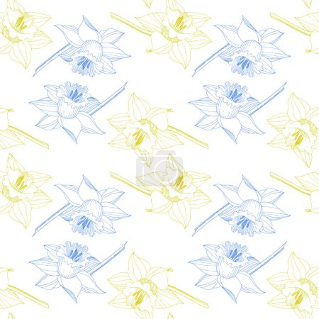 Illustration for Vector Narcissus floral botanical flower. Wild spring leaf wildflower isolated. Yellow and blue engraved ink art. Seamless background pattern. Fabric wallpaper print texture. - Royalty Free Image