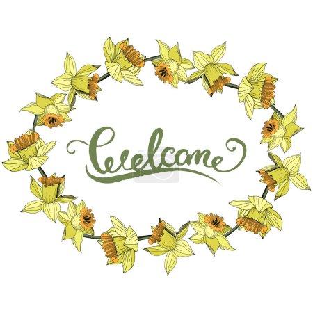 Illustration pour Vector jaune floral botanique fleur du Narcisse. Wildflower de feuille de printemps sauvage isolé. Art d'encre gravé. Place de cadre bordure ornement. - image libre de droit