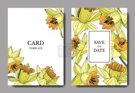 Illustration pour Vector Fleur botanique florale Narcisse jaune. Encre gravée. Carte de fond de mariage bordure décorative florale. Élégante carte illustration graphique set bannière . - image libre de droit