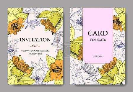 Illustration for Vector Yellow Narcissus floral botanical flower. Engraved ink art. Wedding background card floral decorative border. Elegant card illustration graphic set banner. - Royalty Free Image