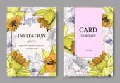 Vector Yellow Narcissus floral botanical flower Engraved ink art Wedding background card floral decorative border Elegant card illustration graphic set banner