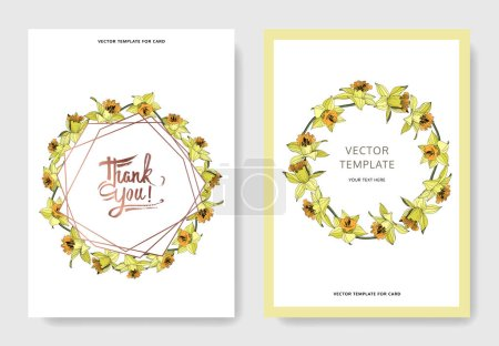 Illustration for Vector Yellow Narcissus floral botanical flower. Engraved ink art. Wedding background card floral decorative border. Elegant card illustration graphic set banner. - Royalty Free Image