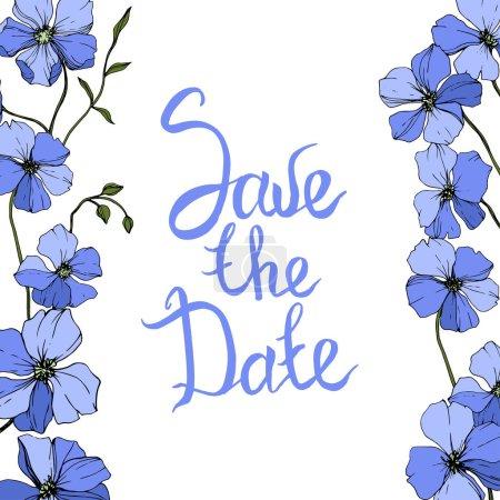 Illustration pour Vector Flax bleu fleur botanique florale sur fond blanc. Feuille sauvage de printemps fleur sauvage isolée. Encre gravée. Cadre bordure ornement carré . - image libre de droit