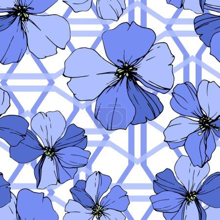Illustration pour Vector Blue Flax fleur botanique florale. Feuille sauvage de printemps fleur sauvage isolée. Encre gravée. Modèle de fond sans couture. Texture d'impression papier peint tissu . - image libre de droit