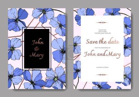 Ilustración de Flor botánica floral lino azul vector. Tinta grabado arte. Boda fondo tarjeta floral cenefa. Gracias, rsvp, gráfico de ilustración invitación tarjeta elegante sistema banner - Imagen libre de derechos