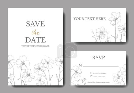Illustration for Vector Flax floral botanical flower.Black and white engraved ink art. Wedding background card floral decorative border. Thank you, rsvp, invitation elegant card illustration graphic set banner. - Royalty Free Image