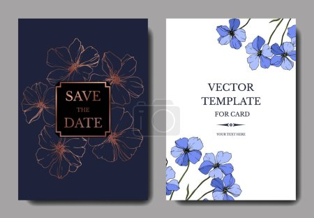 Illustration for Vector Blue Flax floral botanical flower. Engraved ink art. Wedding background card floral decorative border. Thank you, rsvp, invitation elegant card illustration graphic set banner. - Royalty Free Image