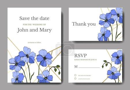 Illustration for Vector Blue Flax floral botanical flower. Engraved ink art. Wedding background card floral decorative border. Thank you, rsvp, invitation elegant card illustration graphic set banner. - Royalty Free Image