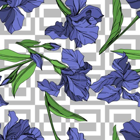 Illustration for Vector Blue iris floral botanical flower. Wild spring leaf wildflower isolated. Blue and green engraved ink art. Seamless background pattern. Fabric wallpaper print texture. - Royalty Free Image