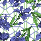Vector Blue iris floral botanical flower Wild spring leaf wildflower isolated Blue and green engraved ink art Seamless background pattern Fabric wallpaper print texture