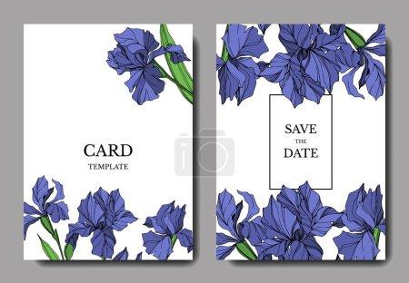Photo for Vector Blue iris floral botanical flower. Wild spring leaf wildflower isolated. Engraved ink art. Wedding background card floral decorative border. Elegant card illustration graphic set banner. - Royalty Free Image